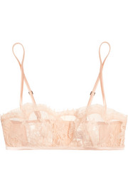 Lace Story leavers lace and satin soft-cup bra