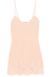 Lace Story leavers lace-trimmed silk-blend crepe de chine chemise