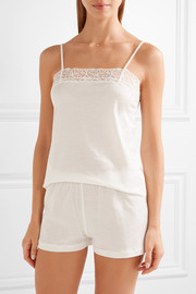 La Perla Liason embroidered tulle-trimmed cotton-blend pajama set