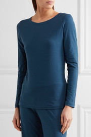 La Perla Souple lace-trimmed stretch-cotton jersey pajama top