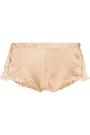 La Perla Maison lace-trimmed silk-blend satin briefs
