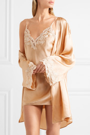 La Perla Maison lace-trimmed silk-blend satin robe