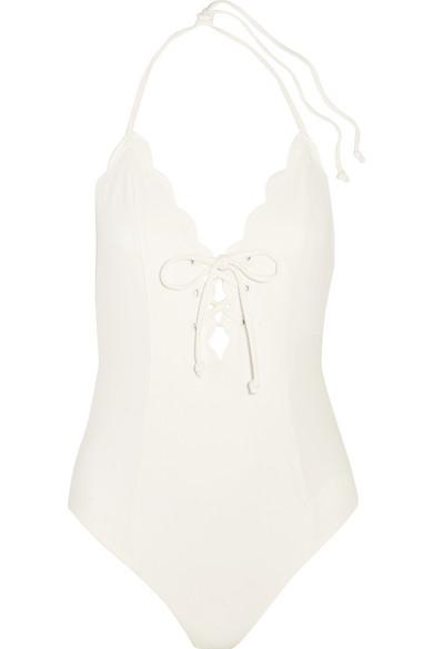 Marysia - Broadway Lace-up Scalloped Halterneck Swimsuit - White