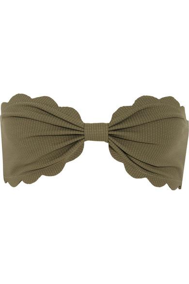 Marysia - Antibes Scalloped Bandeau Bikini Top - Army green
