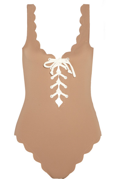 Marysia - Palm Springs Lace-up Scalloped Swimsuit - Mushroom