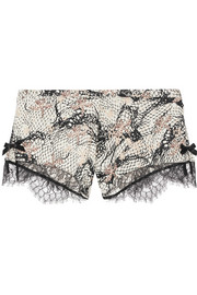 Pearle Leavers lace-trimmed printed stretch silk-satin briefs