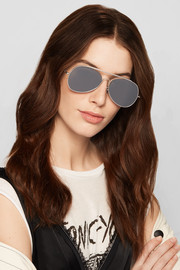 Spitfire aviator-style silver-tone mirrored sunglasses