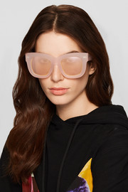 Library square-frame matte-acetate mirrored sunglasses