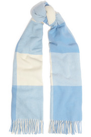 Acne Studios Vichy fringed checked wool scarf