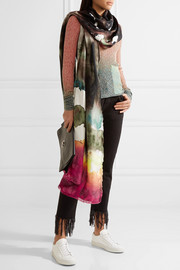 Vapa frayed printed silk scarf