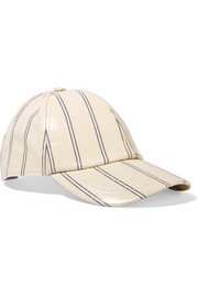 Camp striped coated-twill baseball cap