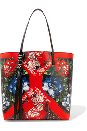 Alexander McQueen Floral-print textured-leather tote