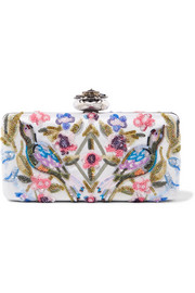 Alexander McQueen Heart embellished embroidered satin clutch