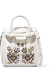 Alexander McQueen The Heroine mini embellished leather and satin shoulder bag