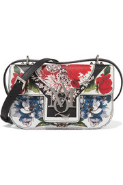 Insignia printed textured-leather shoulder bag