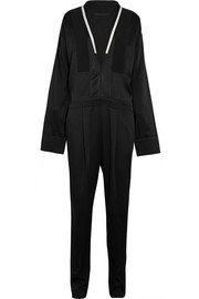 Haider Ackermann Oversized satin-trimmed crepe de chine jumpsuit