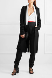 Haider Ackermann Satin-trimmed crepe coat