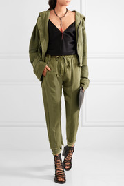Haider Ackermann Frayed paneled jersey and cotton-twill track pants