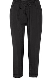 Haider Ackermann Frayed jersey-trimmed cotton-twill track pants