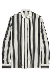 Pleated striped silk shirt