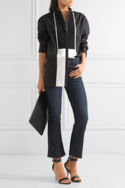 Haider Ackermann Oversized satin-paneled cotton-poplin shirt