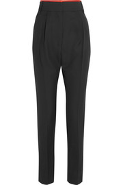 Haider Ackermann Silk satin-trimmed wool slim-leg pants