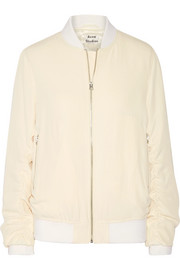Leia ruched twill bomber jacket