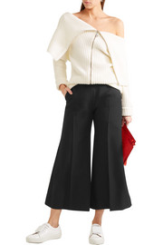 Isa cropped wool-twill flared pants