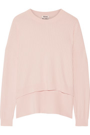 Acne Studios Issy asymmetric ribbed cotton-blend sweater