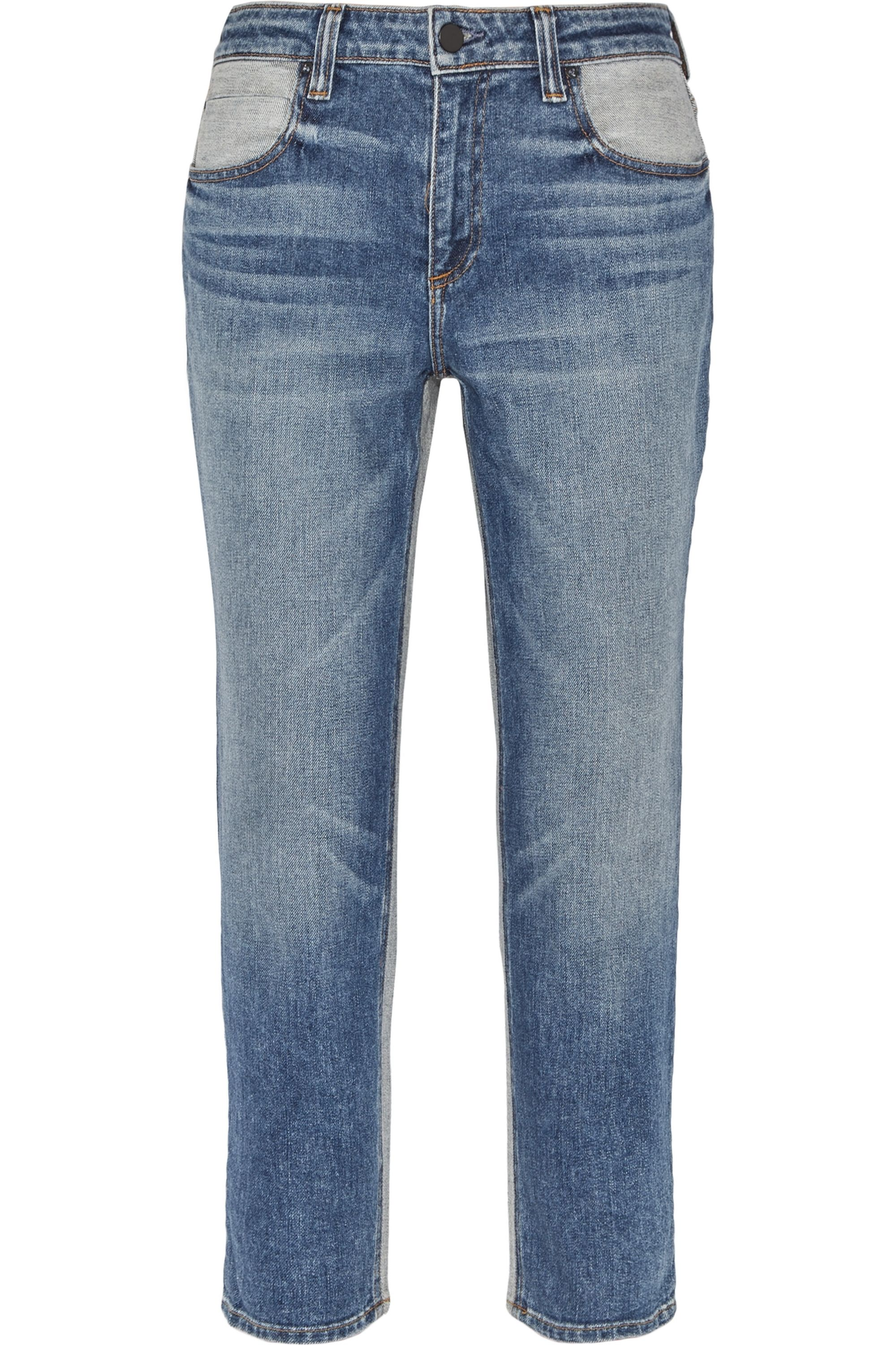 Alexander Wang Ride cropped two-tone high-rise slim-leg jeans