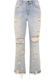 Alexander Wang Grind cropped distressed high-rise bootcut jeans