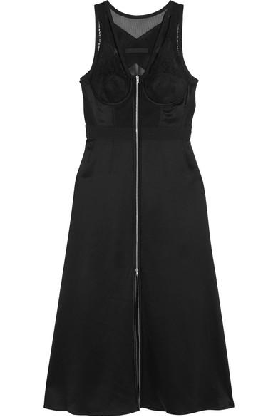 Alexander Wang - Mesh And Lace-paneled Silk-satin Dress - Black