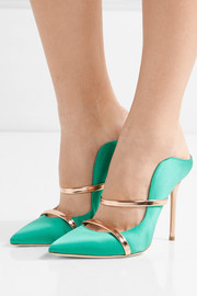 Maureen metallic leather-trimmed satin mules