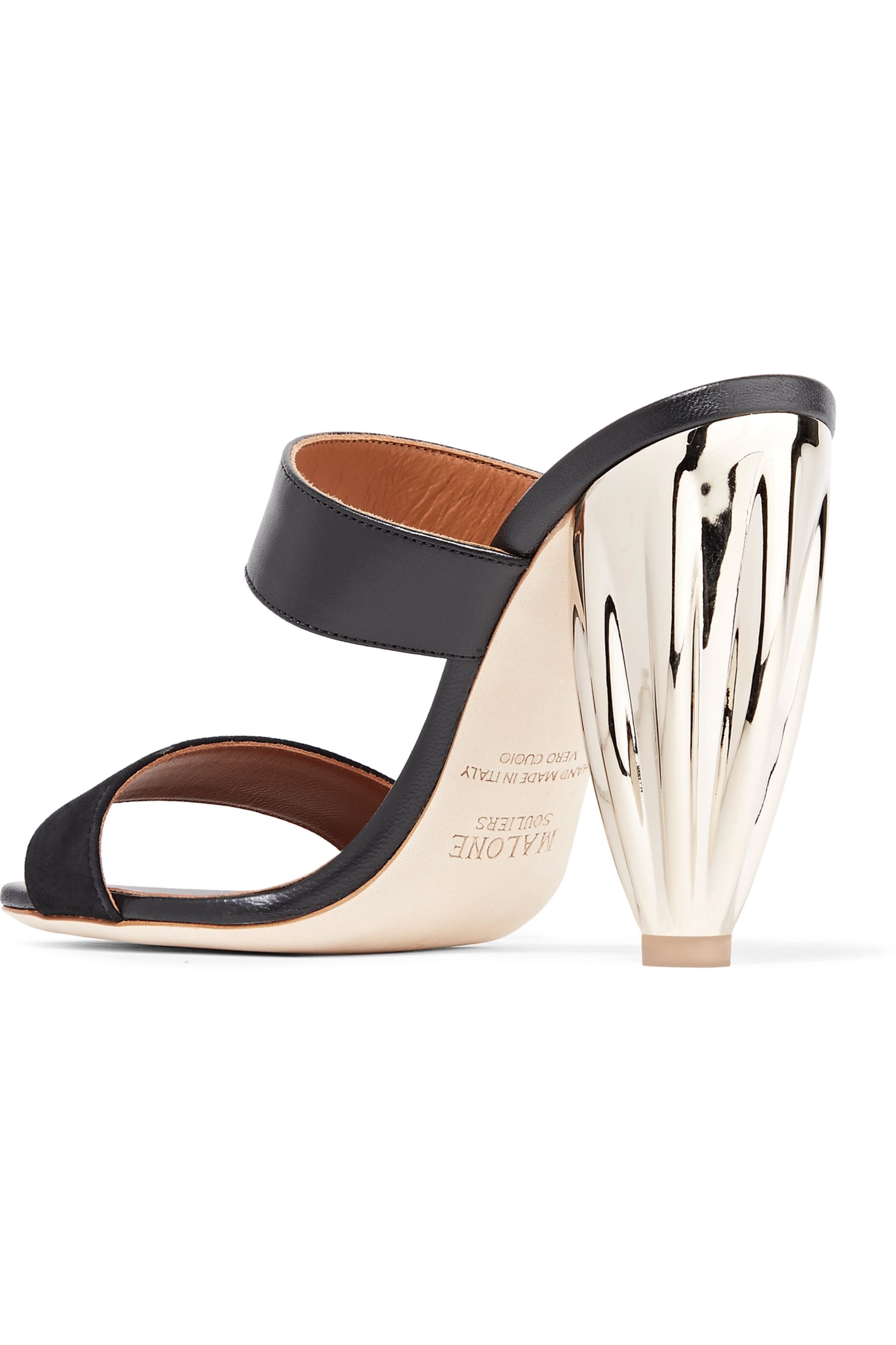 Malone Souliers Lacey leather and suede mules
