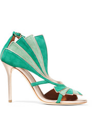 Rosie metallic leather-trimmed suede sandals