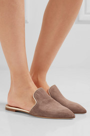 Marianne metallic leather-trimmed suede slippers