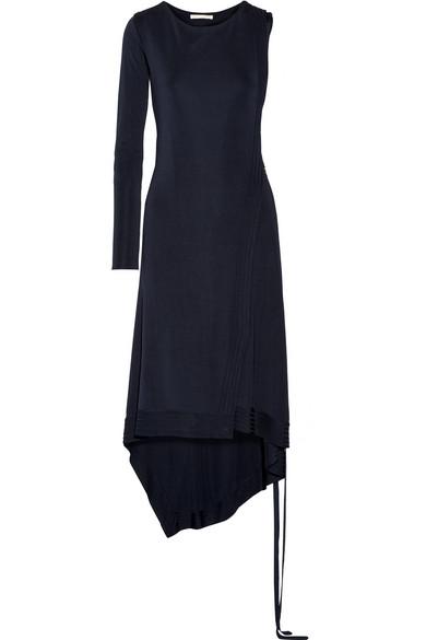 Antonio Berardi - Asymmetric One-shoulder Stretch-knit Wrap Dress - Navy