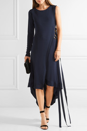 Antonio Berardi Asymmetric one-shoulder stretch-knit wrap-dress