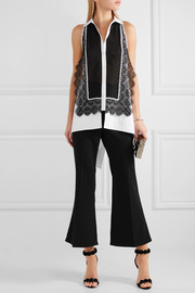 Antonio Berardi Guipure lace-paneled cotton top