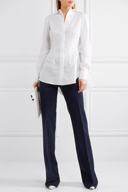 Antonio Berardi Broderie anglaise and lace-paneled stretch-cotton poplin shirt