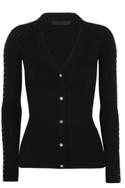 Alexander Wang Embellished ribbed cotton cardigan