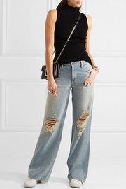 Alexander Wang Drag distressed low-rise wide-leg jeans