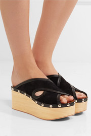 Isabel Marant Zipla leather-trimmed cutout suede wedge sandals