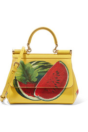 Dolce & Gabbana Sicily mini printed textured-leather shoulder bag