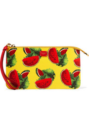 Dolce & Gabbana Printed textured-leather pouch