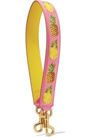 Printed textured-leather bag strap