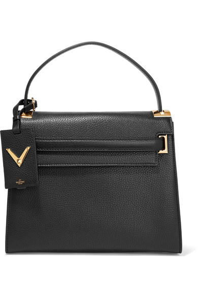 Valentino - My Rockstud Large Textured-leather Tote - Black