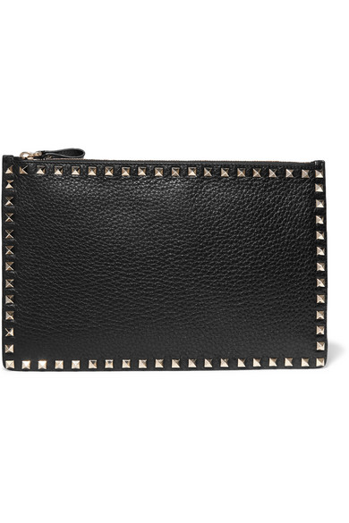 Valentino - The Rockstud Textured-leather Pouch - Black