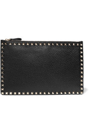 The Rockstud textured-leather pouch
