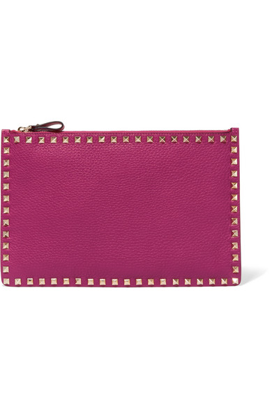 Valentino - The Rockstud Textured-leather Pouch - Pink